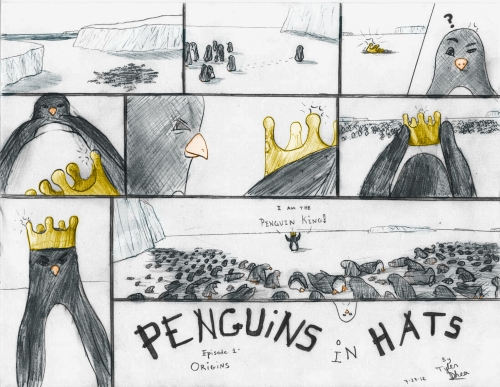 Possible opening page for Penguins in Hats, depicting the rise of the Penguin King.