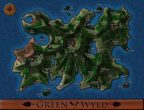 This is a map of the GreenWyld Isle, a mountainous island with dense forest and several calderas.